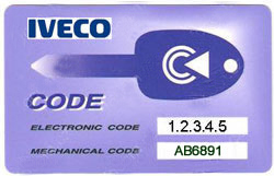Iveco key code tag