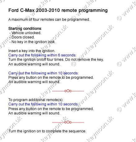 Ford C-Max three button remote with flip key HU101
